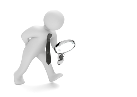 finding: White businessman with loupe on the white background. 3d illustration.