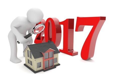 Mannequin met loupe, house en het jaar 2017 op de witte. 3D-afbeelding.