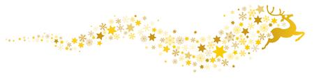 Reno con copos de nieve y estrellas sobre fondo blanco. Ilustración de vector