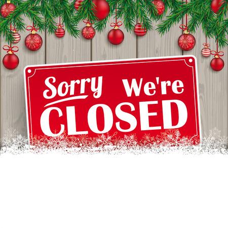 Estamos cerrados signo para la Navidad.