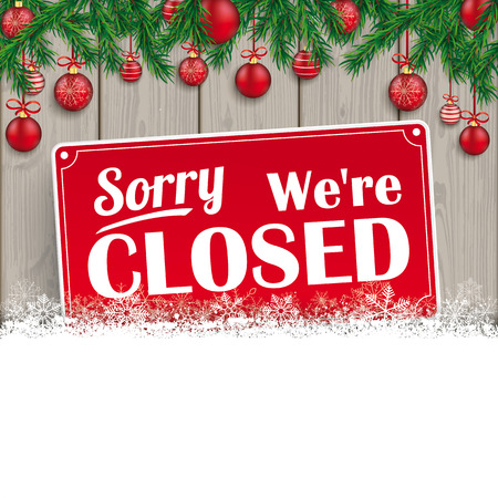 sell: We are closed sign for christmas. Illustration