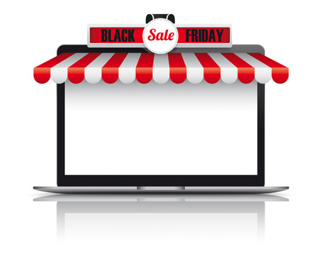 onlineshop: Notebook with red and white awning for Black Friday Sale.