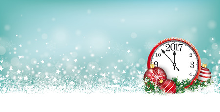 snoflake: Cyan christmas header with snow, clock and stars on the bokeh background.