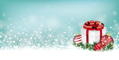 Cyan christmas header with snow, gift, baubles and stars on the bokeh background.