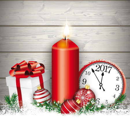 Candle with gift, baubles and clock on the wooden background. Illustration