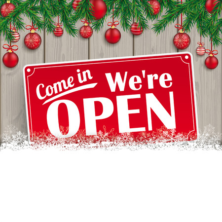 We are open sign for christmas 矢量图像