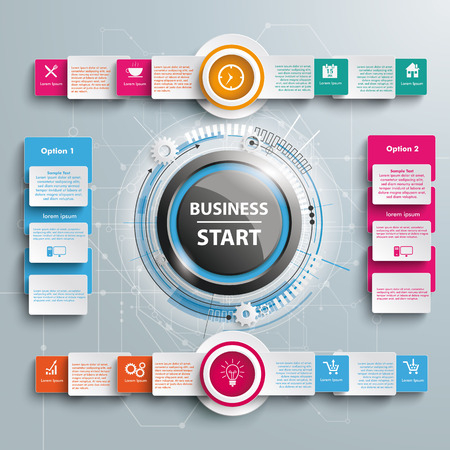 INfographic with button and text business start.