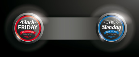 Black Friday and Cyber Monday button with banner on the dark background.