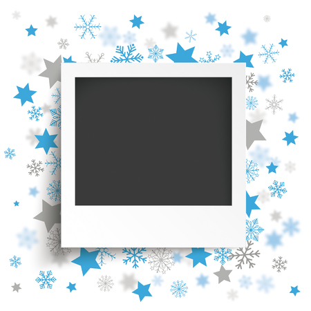 Instant photo with blue snowflakes and stars on the white background.