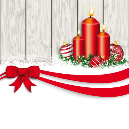 Christmas card with red ribbon, snow, candles, baubles and wooden wall.