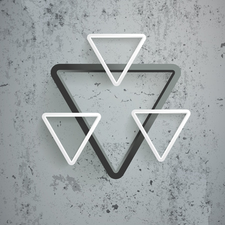 White triangles on the concrete background. Illustration