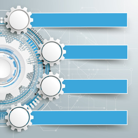 Infographic design with gears and banners on the grey background.