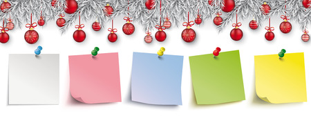 Christmas card with red baubles and colored sticks.