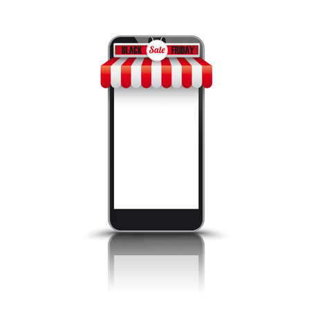 sunblind: Black smartphone with red white awning for Black Friday Sale.