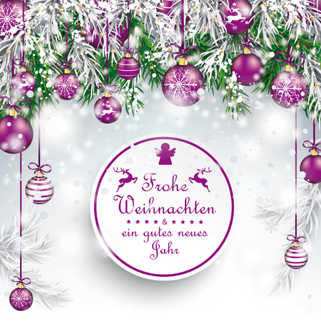 frohe: German text Frohe Weihnachten, translate Merry Christmas. Illustration