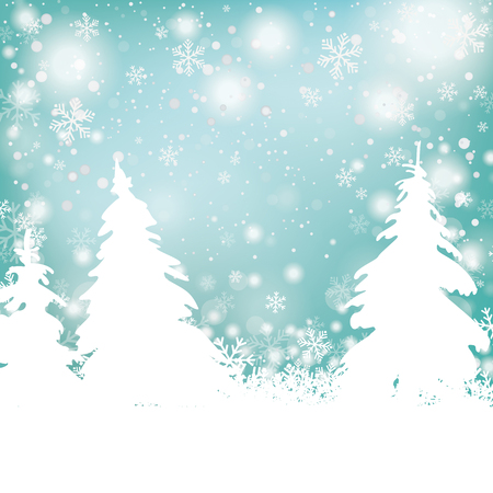 fir trees: Snowflakes with white fir trees. Illustration
