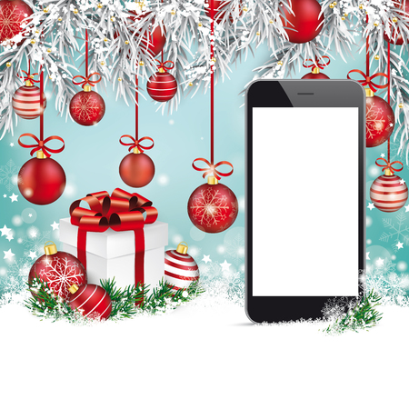 Christmas background with smartphone, snow, gift, twigs and red baubles.