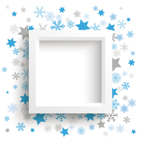 quadrat: White frame with blue snowflakes and stars on the white background. Illustration