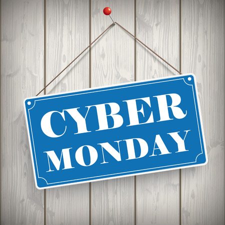 onlineshop: Sign with text Cyber Monday on the wooden background. Illustration