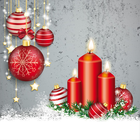 Red baubles with golden stars and candles on the concrete background.