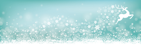 snoflake: Cyan christmas header with reindeer, snow and stars on the bokeh background.