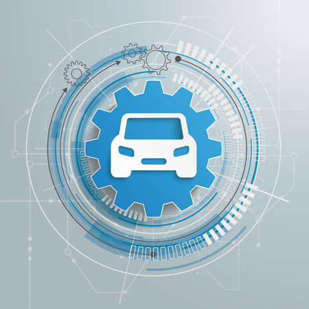 Roue dentée futuriste avec voiture et schéma électronique sur fond gris.