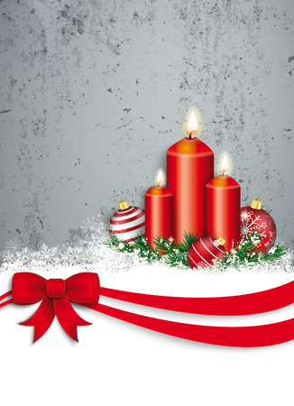 upright format: Christmas card with red ribbon, snow, baubles and candles and concrete wall.