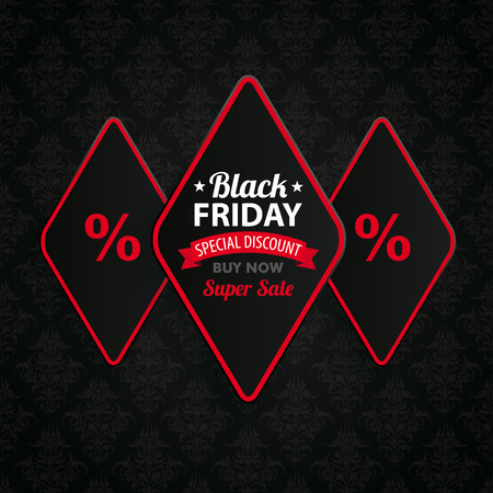 lozenge: Black friday cover with 3 rhombus pieces on the dark wallpaper Illustration