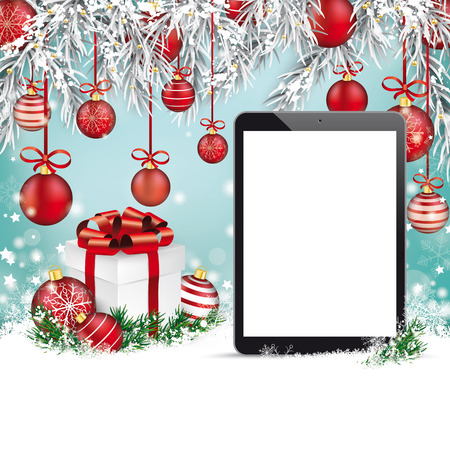 tabletpc: Christmas background with tablet, snow, gift, twigs and red baubles. Illustration