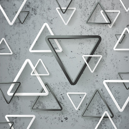copy space: White triangles on the concrete background. Illustration