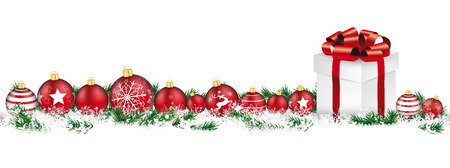 suprise: Red christmas baubles with gift, and twigs on the white background. Illustration