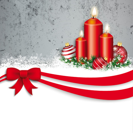bowknot: Christmas card with red ribbon, snow, candles, baubles and concrete wall.