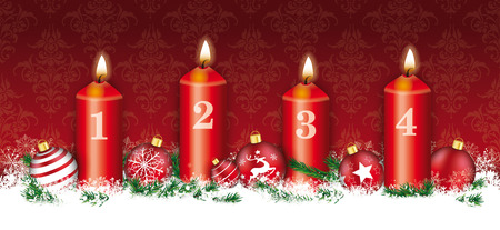 burning paper: Red christmas header with snowflakes, 4 candles and red baubles. Illustration