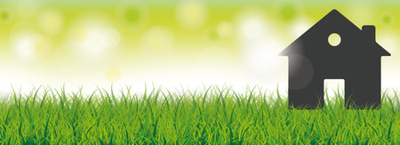 live: House in the grass on the bokeh background Illustration