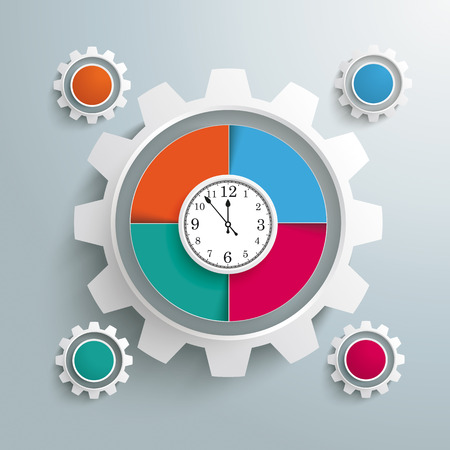 iterative: Infographic design with clock and gear on the gray background. Illustration