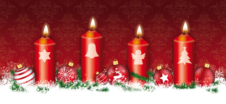 advent candles: Red christmas header with snowflakes, 4 candles and red baubles. Illustration
