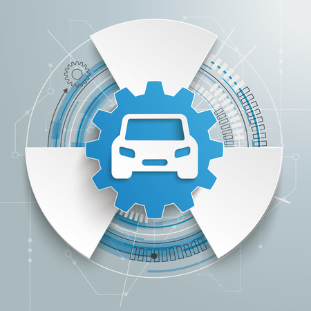 motor car: Futuristic gear wheel with car and electronic schematicon on the gray background.