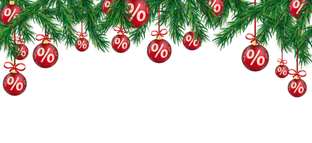 percent: Christmas card with red percent baubles and and green fir twigs.