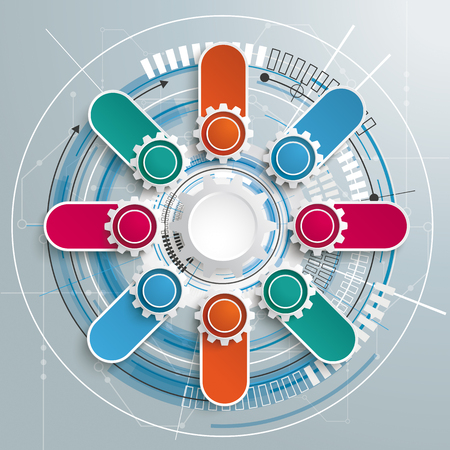 iterative: Futuristic gear wheel with electronic schematicon the gray background. Illustration