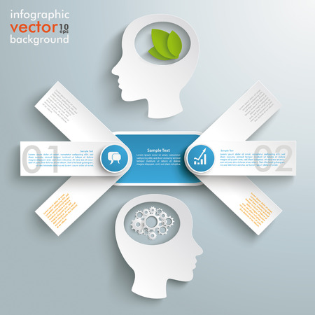 conflict: Infographic design with heads, arrows and banners on the gray background. Illustration