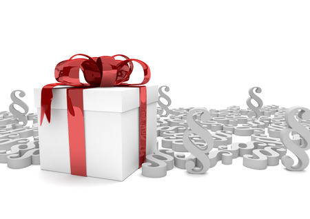 Gift carton with red ribbon and white paragraphs on the white. 3d illustration. Stock Photo