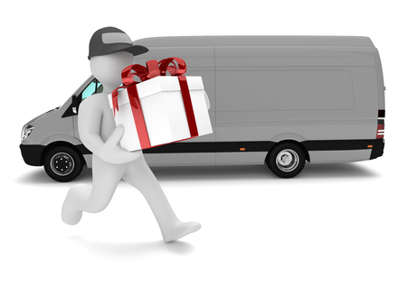 forwarder: Manikin with white gift carton and delivery van on the white. 3d illustration.