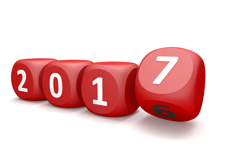 Cubes with year number 2017 and 2016. 3d illustration.