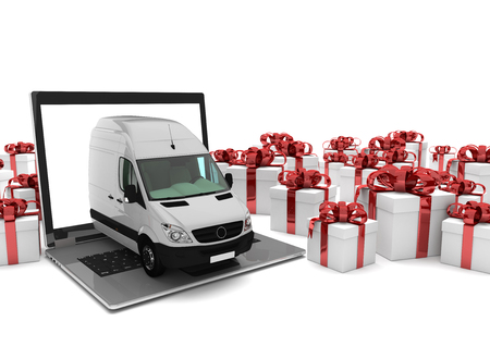 forwarder: Notebook with delivery van and gifts on the white. 3d illustration.