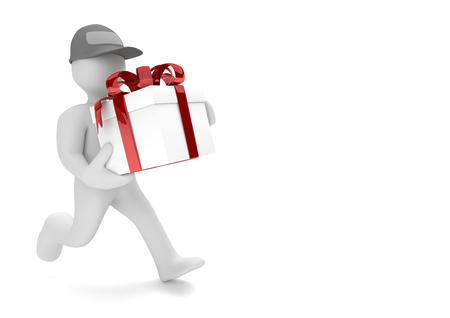 Running white cartoon character with gift carton with red ribbon. 3d illustration.
