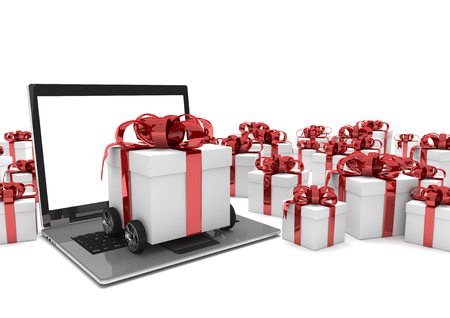 forwarder: Gift carton on wheels with laptop and gifts on the white. 3d illustration.  Stock Photo