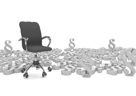 proceedings: Swivel armchair with gray paragraphs. 3d illustration.