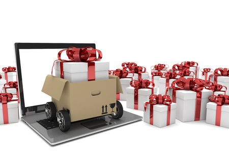 forwarder: Notebook with opened carton on wheels and gift boxes on the white. 3d illustration.
