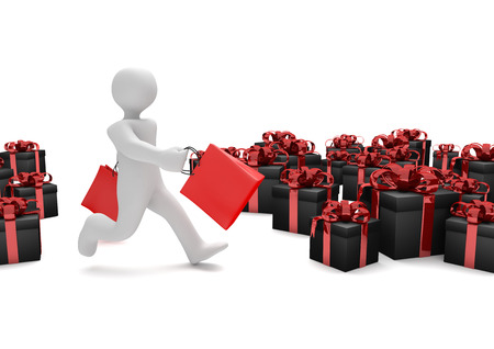 cyber woman: Running manikin with red shopping bags and black gifts. 3d illustration.