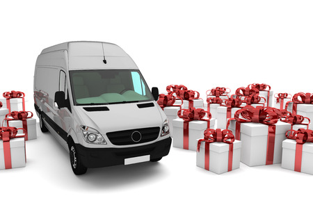forwarder: Delivery van with gift cartons on the white. 3d illustration. Stock Photo